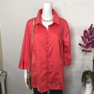 Lane Bryant Coral 3/4 Sleeves Shirt 22/24W